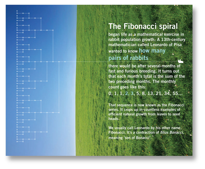 Page from a trade-show book about the Fibonacci series