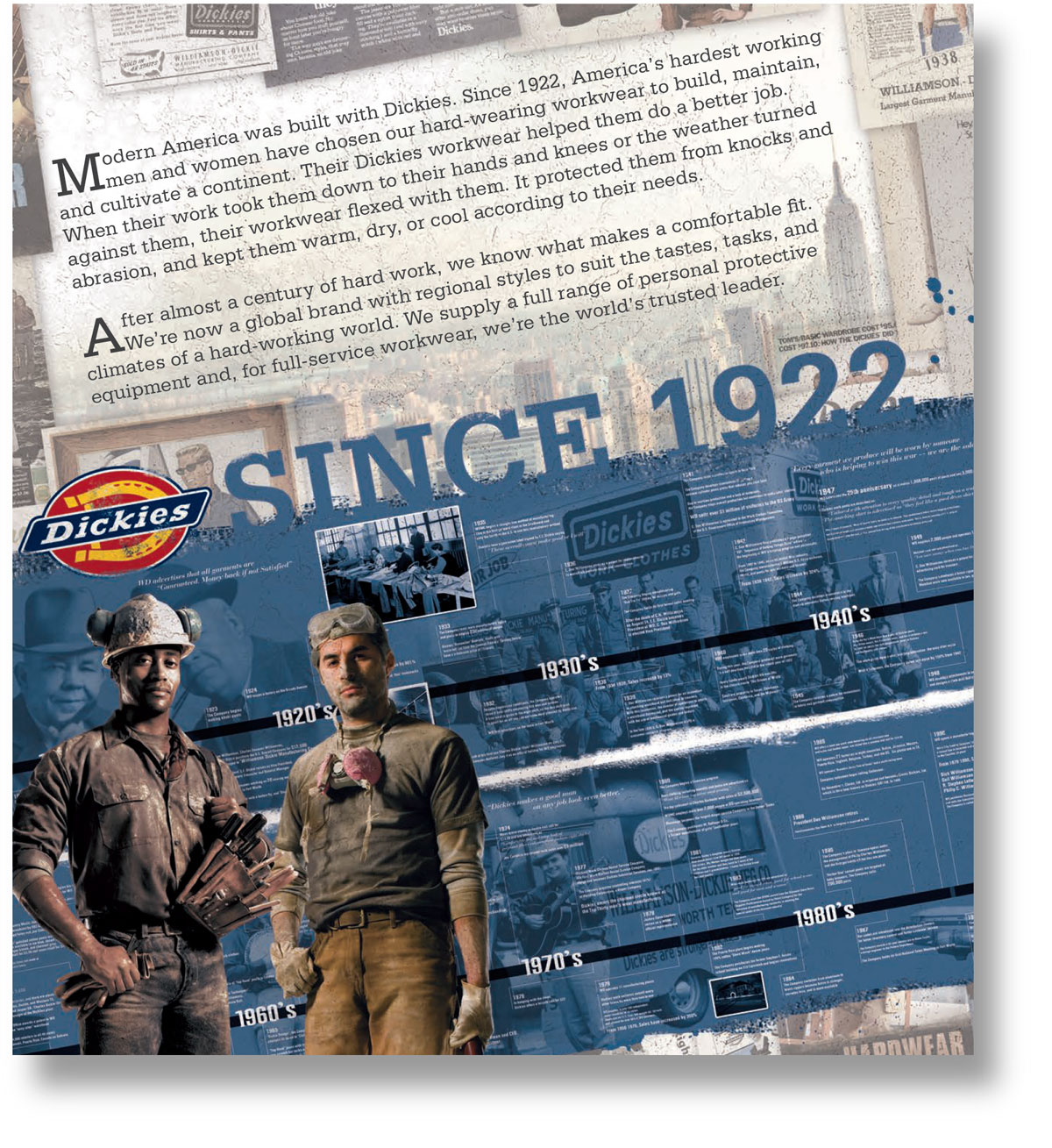 Brand heritage copywriting: page from the Dickies workwear catalogue