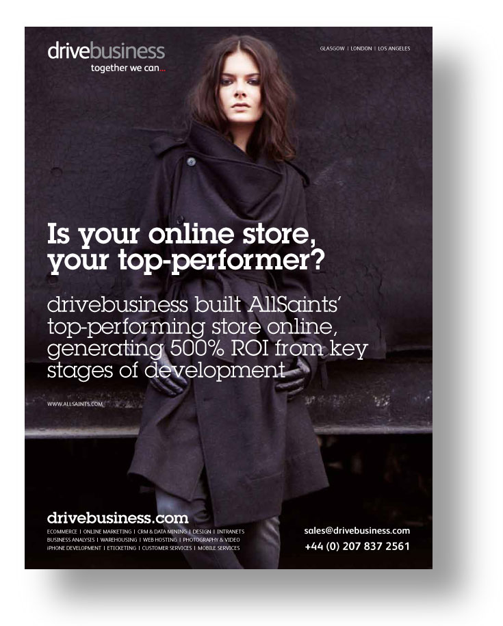drivebusiness ad featuring its work for AllSaints
