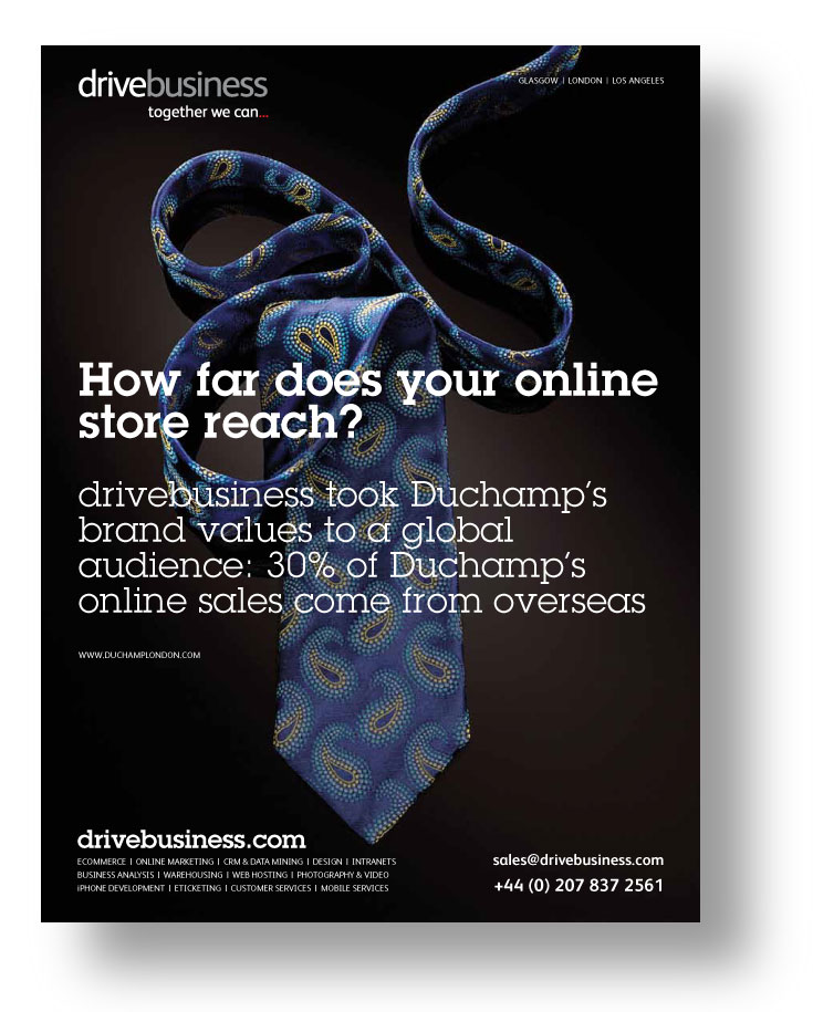 drivebusiness ad featuring its work for Duchamp