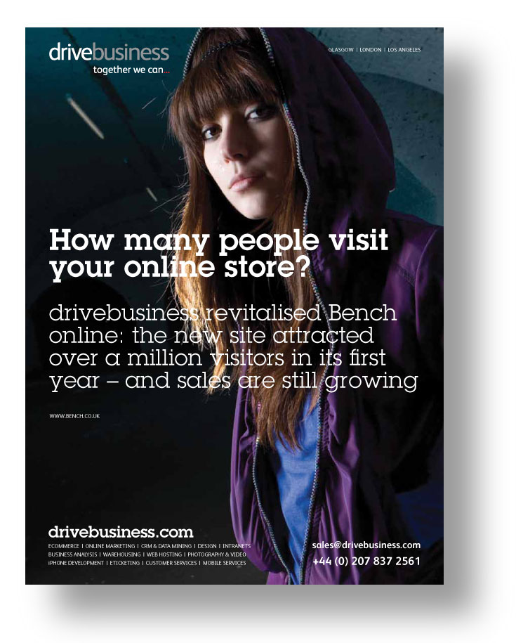 drivebusiness ad featuring its work for Bench