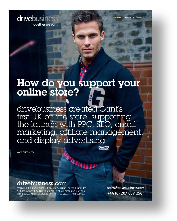 drivebusiness ad featuring its work for Gant