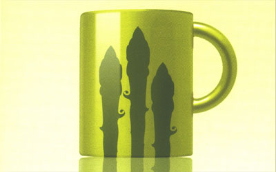 Waitrose packaging detail showing a cup with asparagus tips