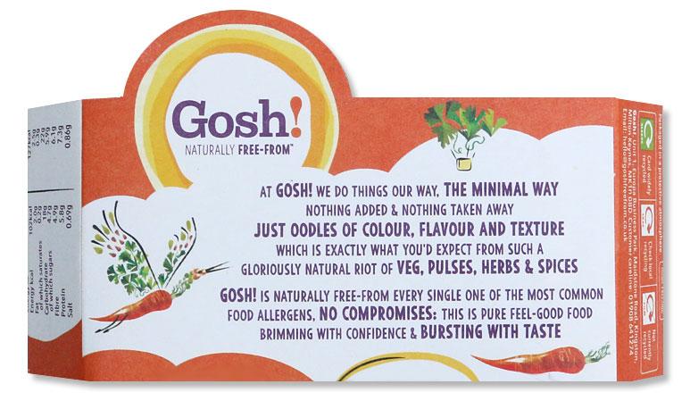 Brand-defining food packaging copywriter: Gosh! back of pack