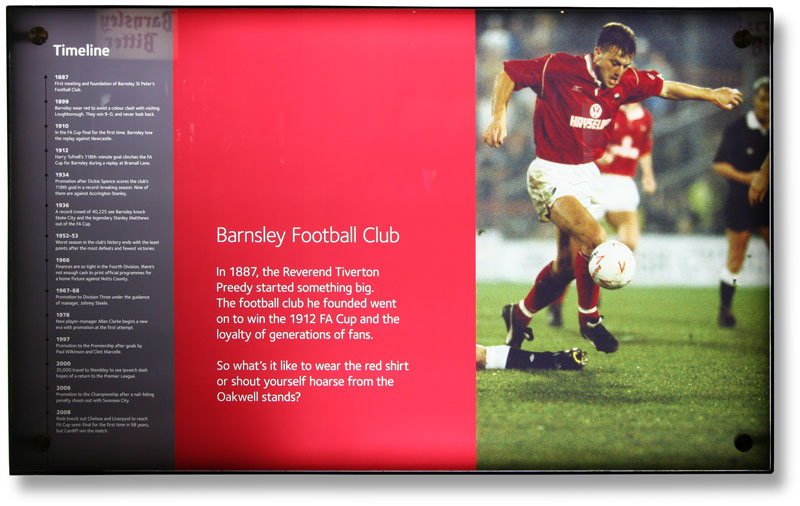 Heritage copywriter: museum panel showing the Barnsley Football Club timeline at Experience Barnsley