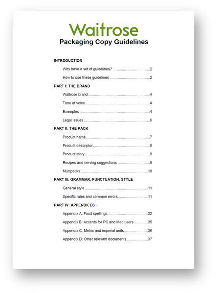 Contents page from Waitrose packaging copy guidelines