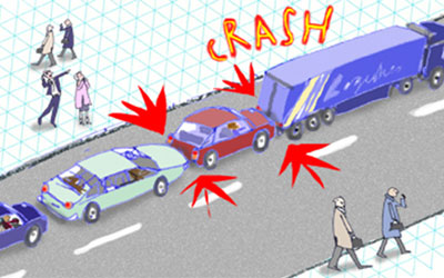 How a crash might happen if you stop too close in slow-moving traffic