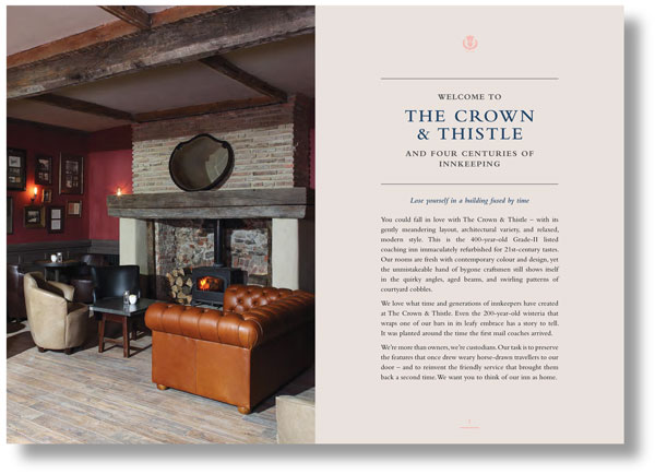Hospitality copywriting: double-page spread from a brochure for The Crown & Thistle