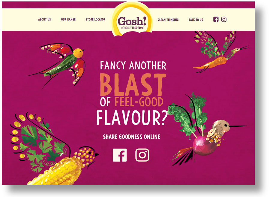 Web content and copywriting: extact from the Gosh! website showing the vegetable birds