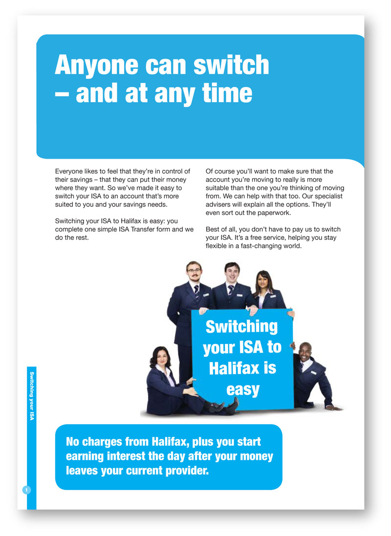 Financial services copywriting: Halifax leaflet about ISA-switching