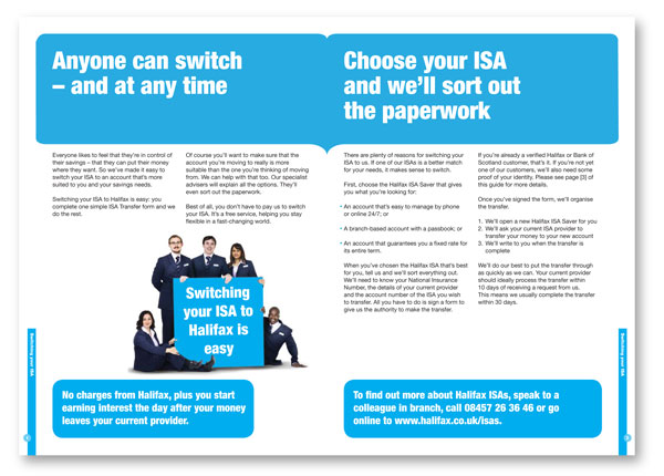 Financial services copywriting: double-page spread from a Halifax leaflet about ISA-switching