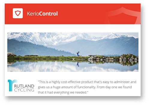 Header from the Rutland Cycling case study on the Kerio website