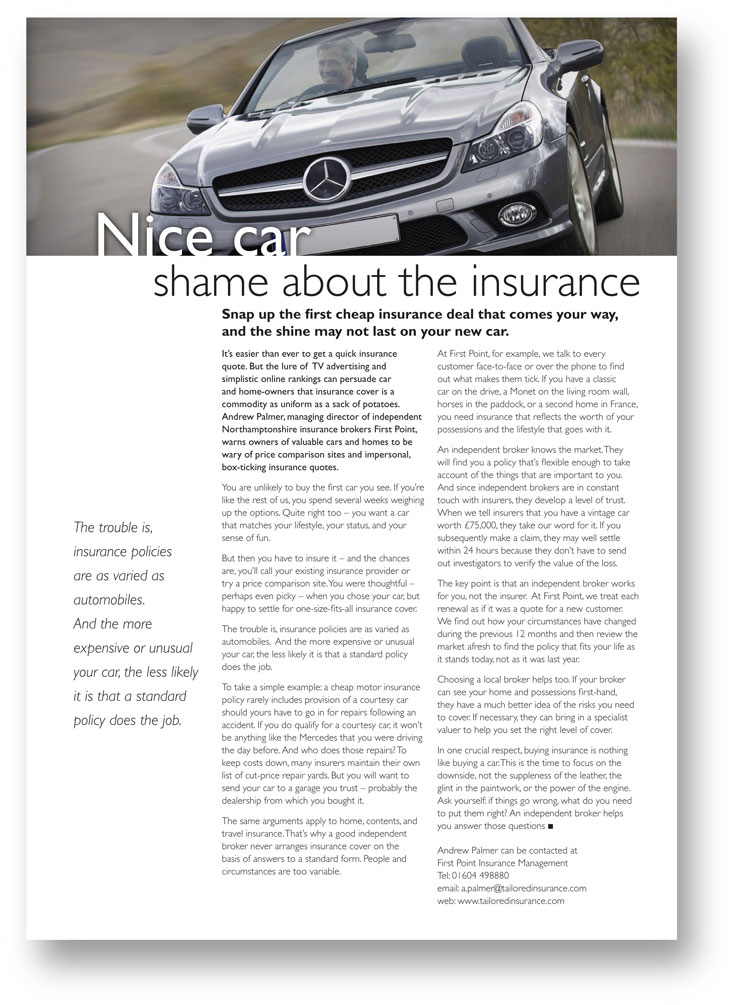 Advertorial copywriting about motor insurance for First Point Insurance Management