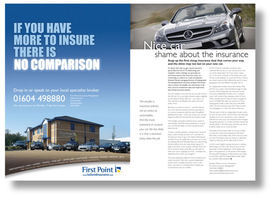 Double-page spread advertorial for First Point Insurance Management