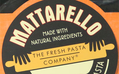 Packaging detail from Matarello by the Fresh Pasta Company