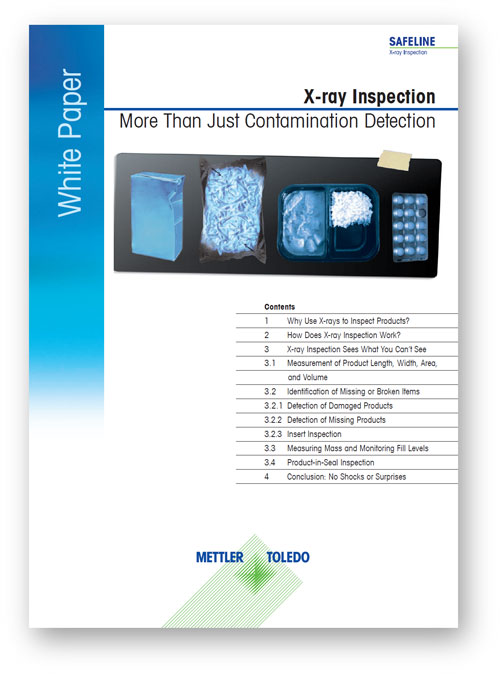 White paper copywriting: cover of a Mettler Toledo white paper about X-ray inspection