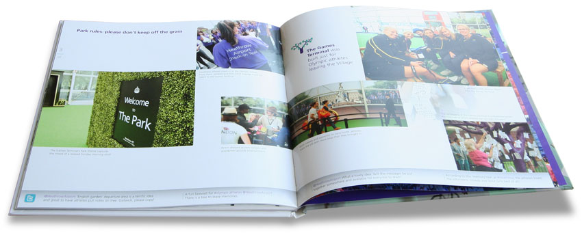 Open spread from Heathrow's London 2012 souvenir photobook