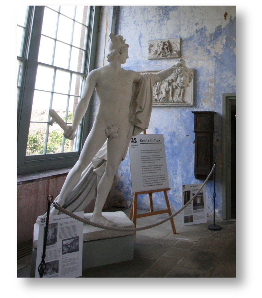 Statue in the Orangery at Knole depicting Perseus holding Medusa's head