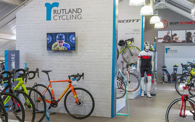 Interior of Rutland Cycling's shop at Whitwell