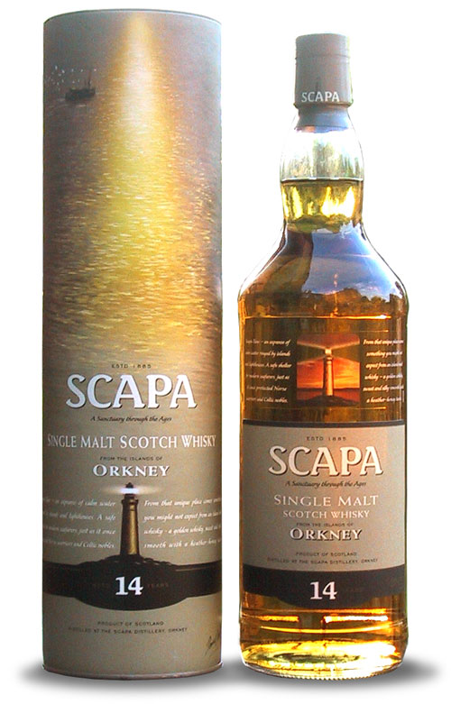 Whisky packaging copywriter: bottle of Scapa single malt whisky and its cardboard presentation tube