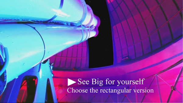 Full-dome voice-over scriptwriter: telescope looking out through slot in observatory dome