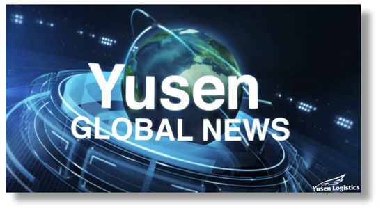 Still from the title sequence of the Yusen Global News video