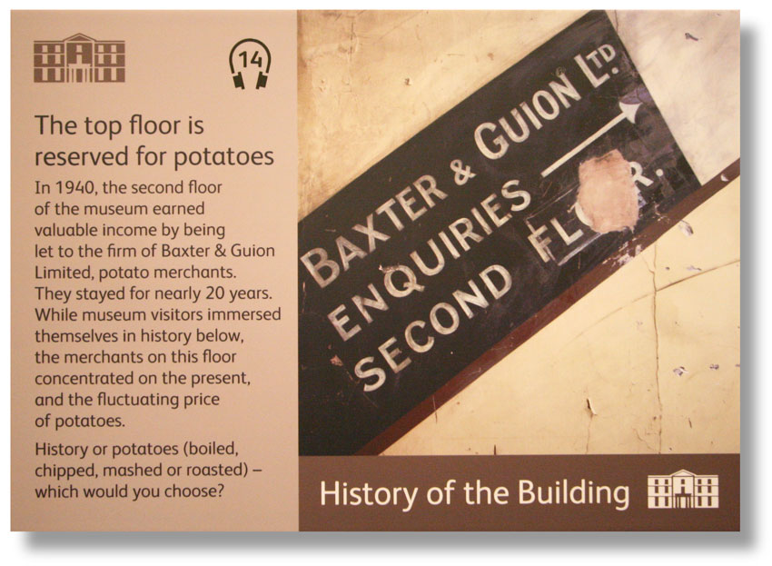 Panel about the potato merchants, Baxter & Guion, who occupied the upper floor of Peterborough Museum