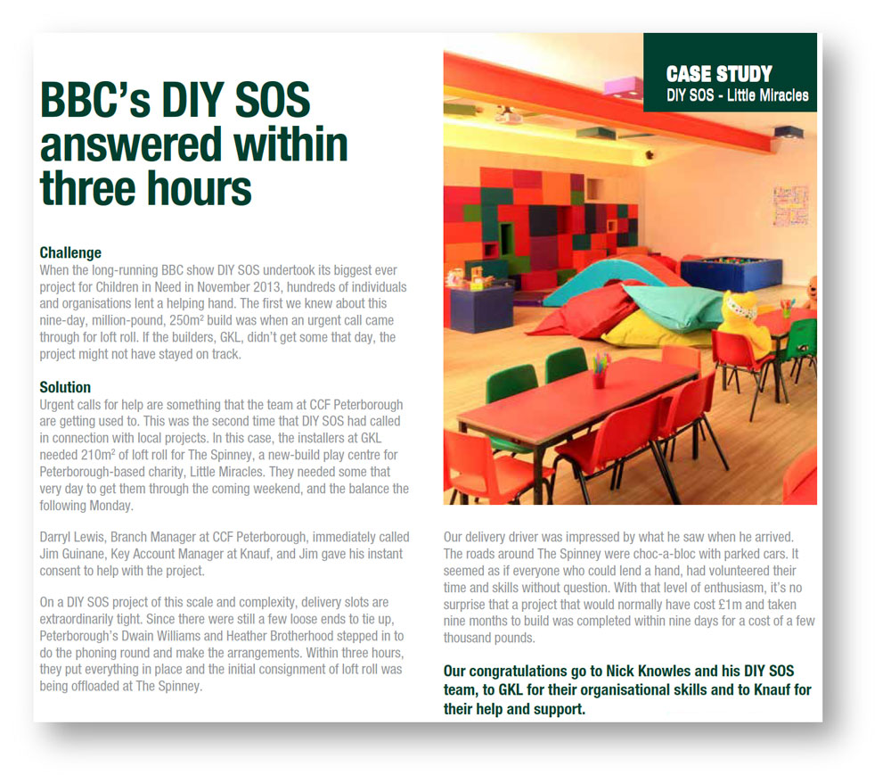 Newsletter copywriting for a story about CCF's involvement in a BBC DIY SOS project