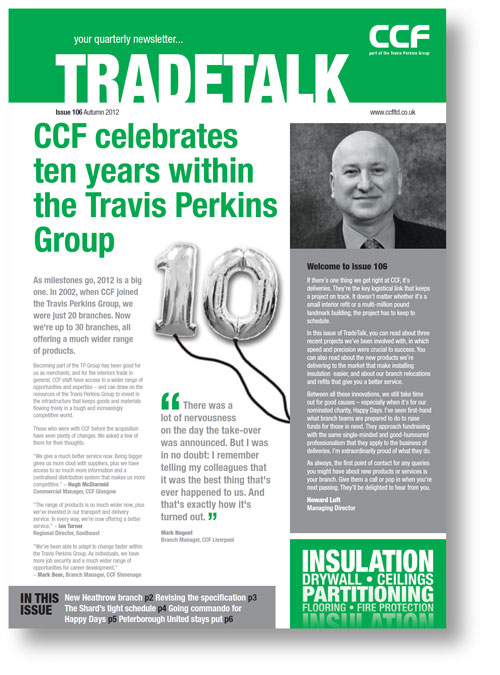 Newsletter copywriting for the cover from CCF TradeTalk issue 106