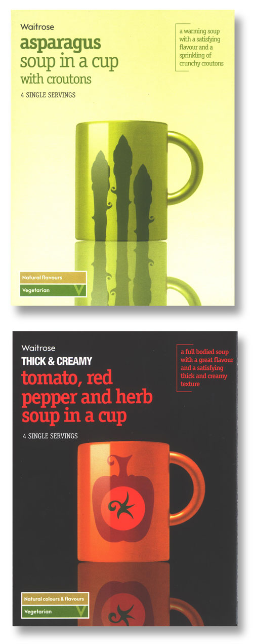 Packaging copywriter: two soup packet from Waitrose