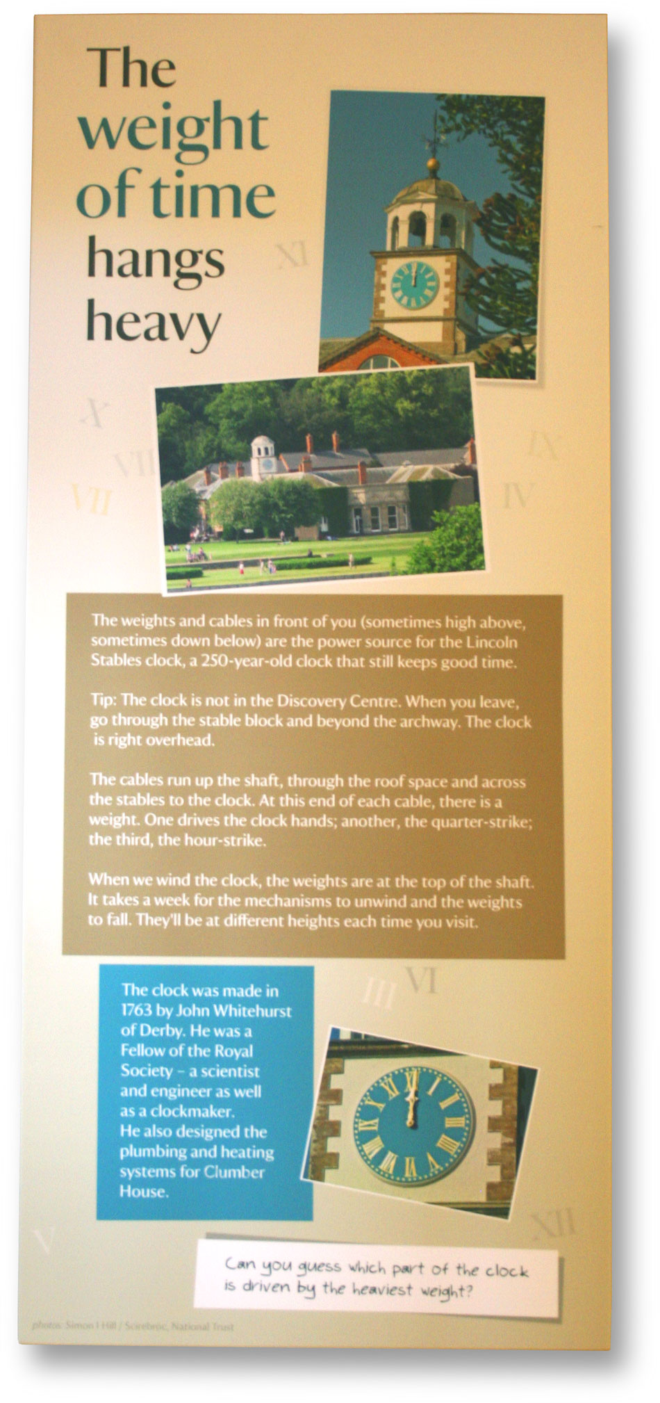 Interpretation copywriter: visitor panel about the clock mechanism at Clumber Park