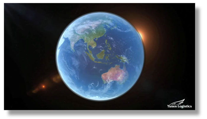 Still of the earth in space from the Yusen Global News video