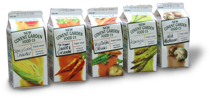 Food and drink copywriter: row of five soup cartons from New Covent Garden Food Co
