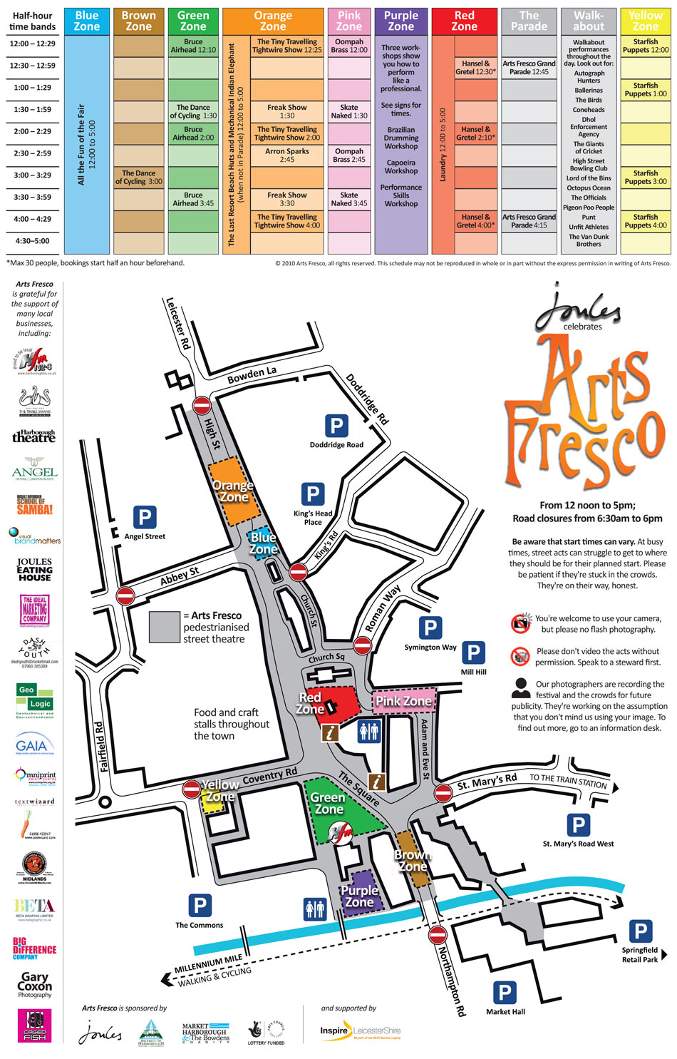 Town plan and event schedule from the Arts Fresco programme