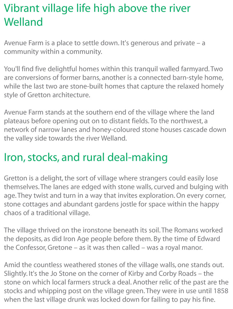 Construction and development copywriting: extract from the brochure for Avenue Farm, Gretton