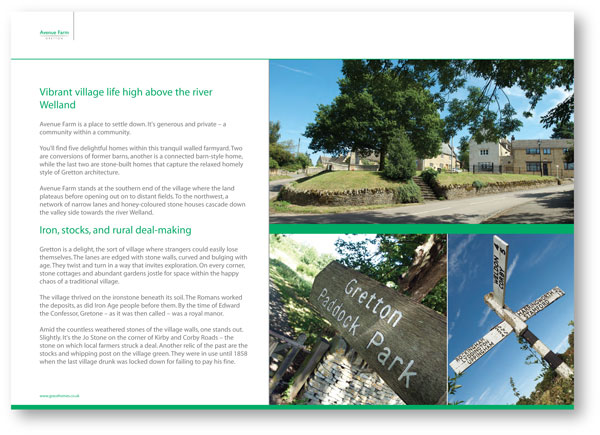 Construction and development copywriting: page from the brochure for Avenue Farm, Gretton