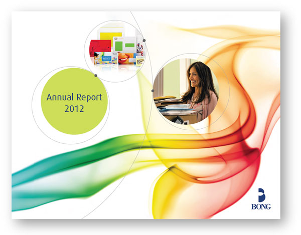 Annual report copywriting: cover from the Bong annual report