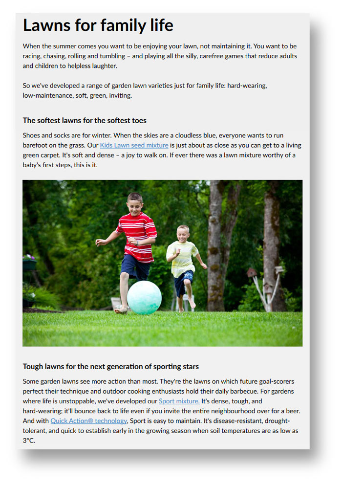 Screenshot of a page from the DLF website on lawns for family life