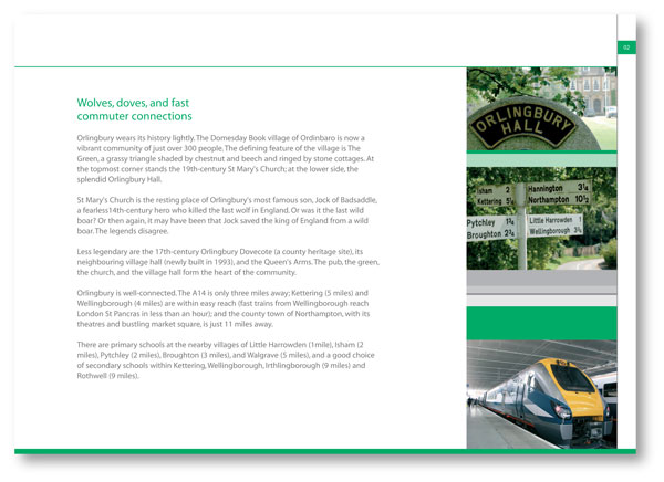 Construction and development copywriting: page from the brochure for Manor Farm, Orlingbury
