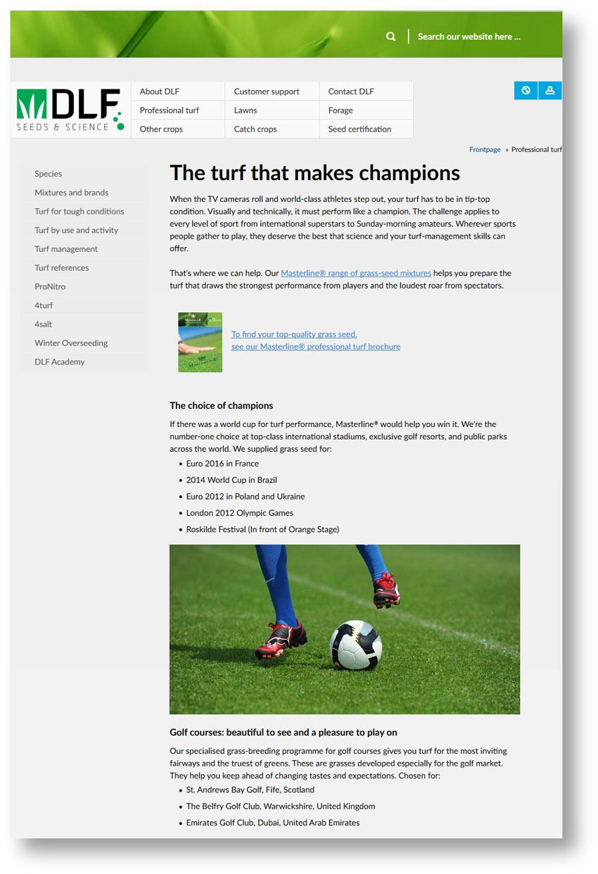 Screenshot of a page from the DLF website on turf for champions