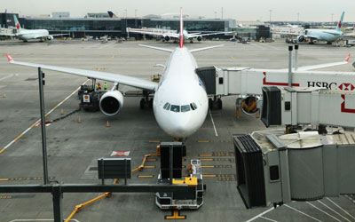 An aircraft on the stand at Heathrow