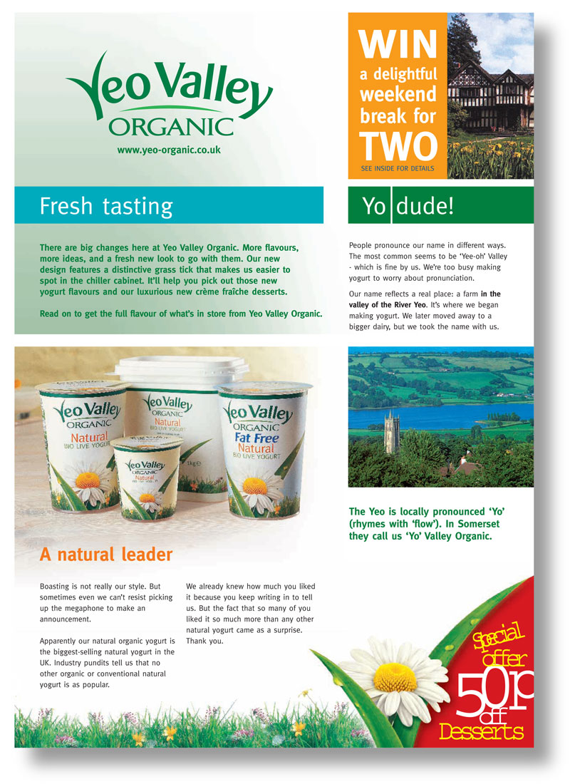 A single page tone of voice guide for Yeo Valley Organic