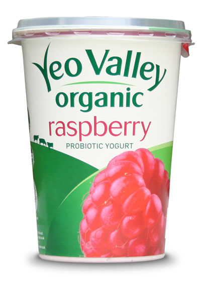 Carton of Yeo Valley Organic raspberry yogurt
