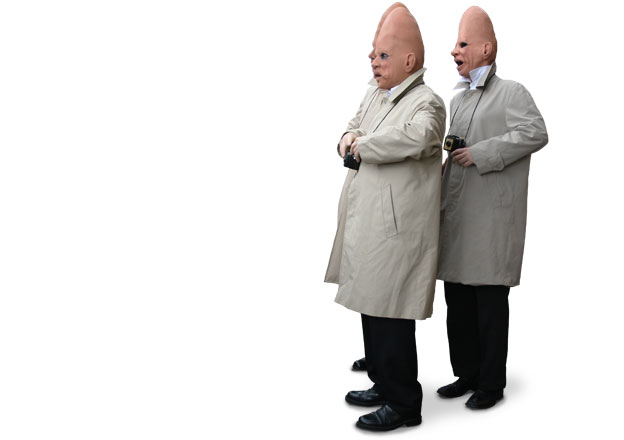 Coneheads: a street-theatre act performing at Arts Fresco