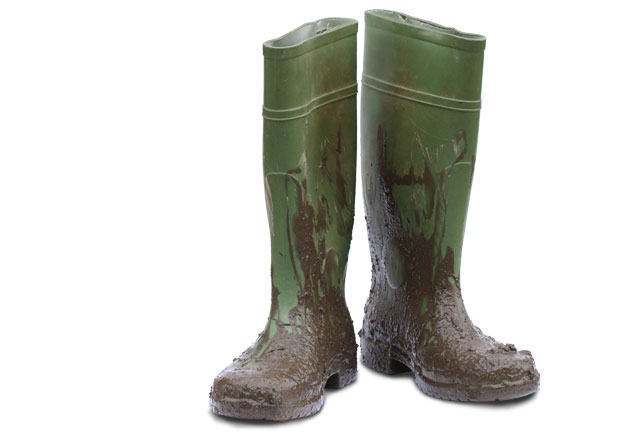 Holidays and tourism copywriter: pair of muddy green wellies