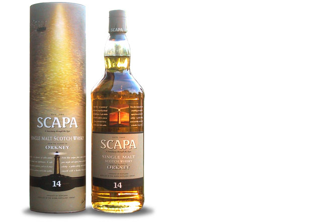 Bottle of Scapa whisky and cardboard presentation tube