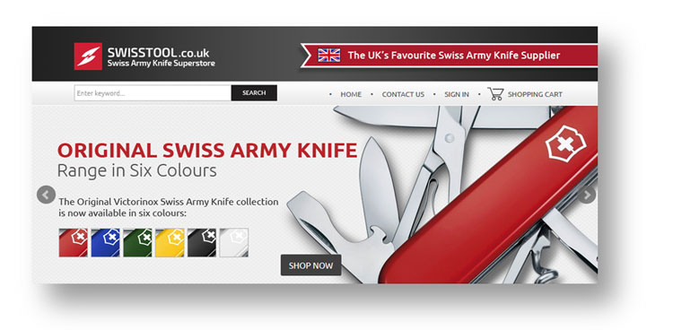 Swiss Army Knife copywriting: extract from the home page of the SwissTool website
