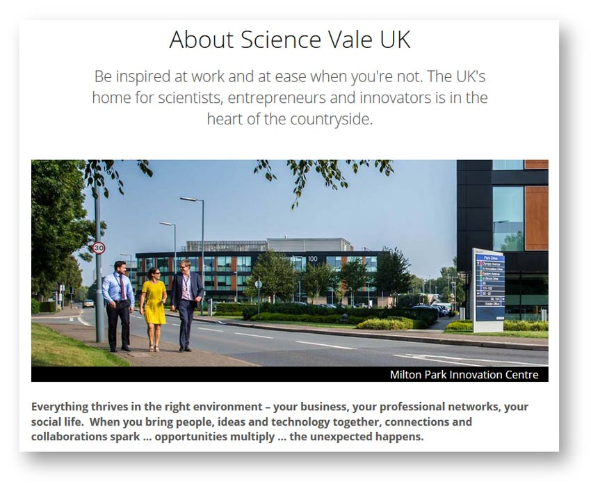 Web content and copywriting: about page from the Science Vale website