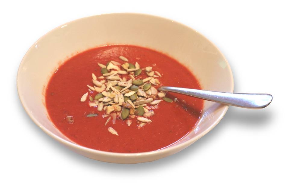 A bowl of Pep & Lekker ravishing red soup