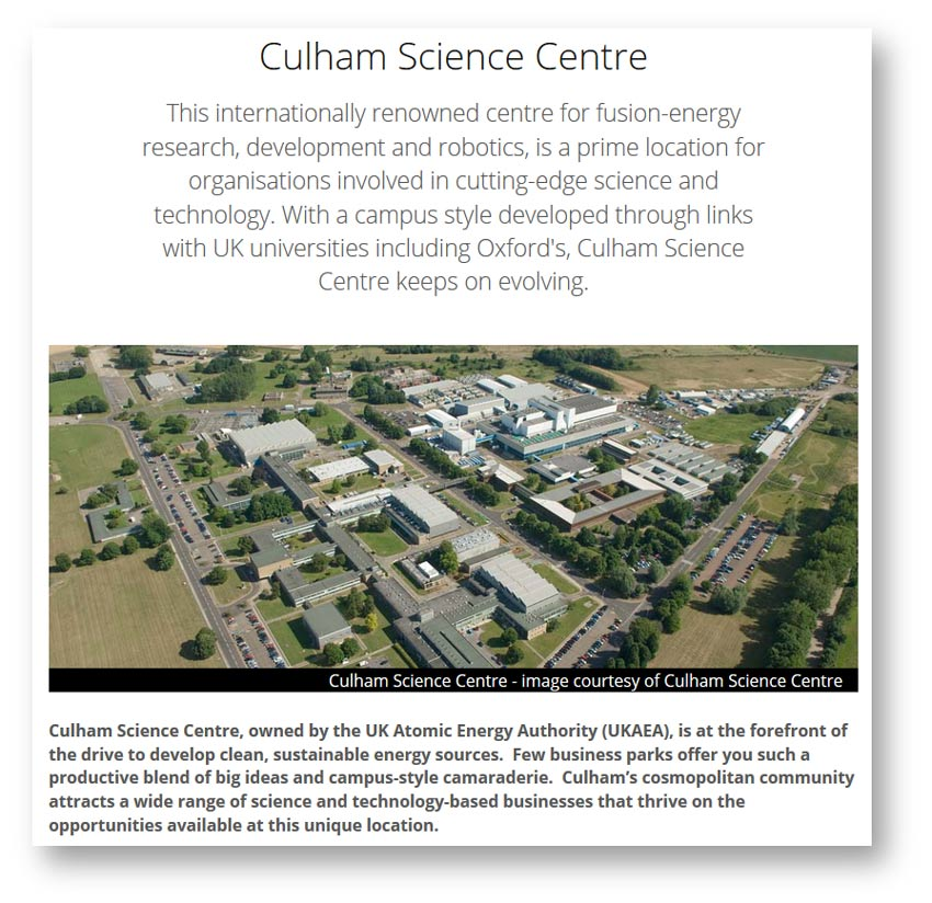 Web content and copywriting: Culham Science Centre page from the Science Vale website